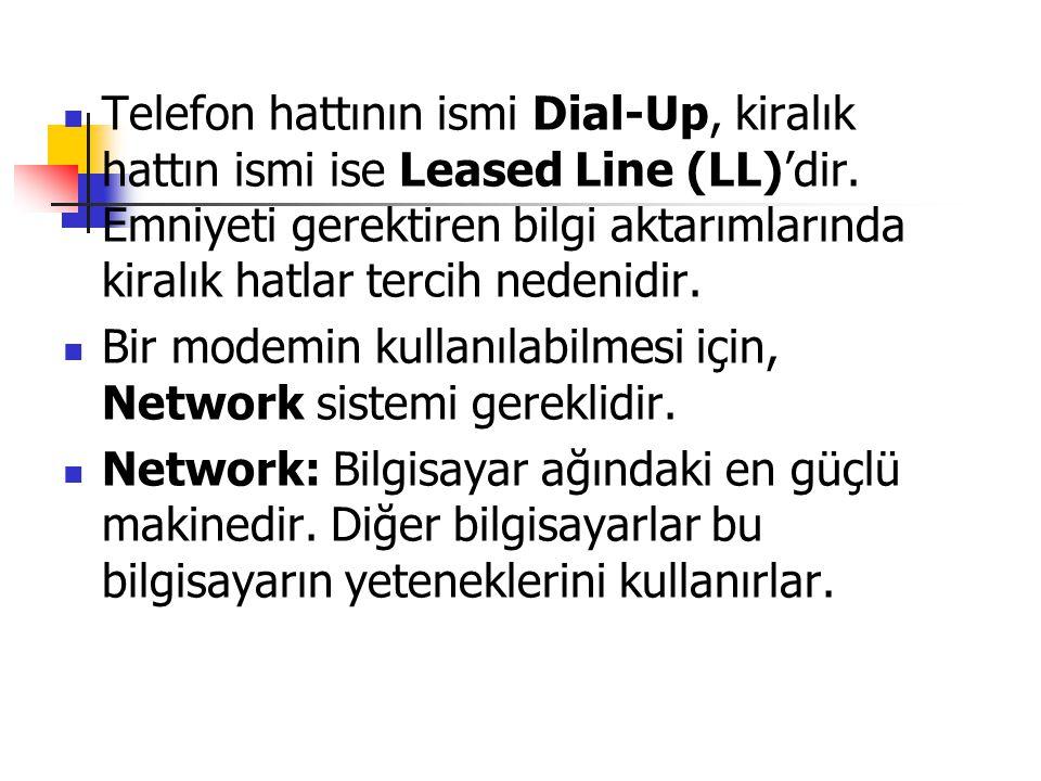 Telefon hattının ismi Dial-Up, kiralık hattın ismi ise Leased Line (LL)'dir. Emniyeti gerektiren bilgi aktarımlarında kiralık hatlar tercih nedenidir.