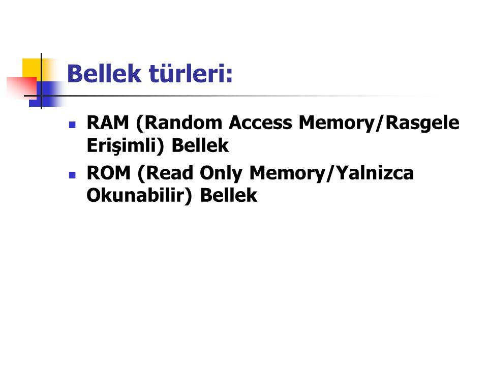 Bellek türleri: RAM (Random Access Memory/Rasgele Erişimli) Bellek ROM (Read Only Memory/Yalnizca Okunabilir) Bellek