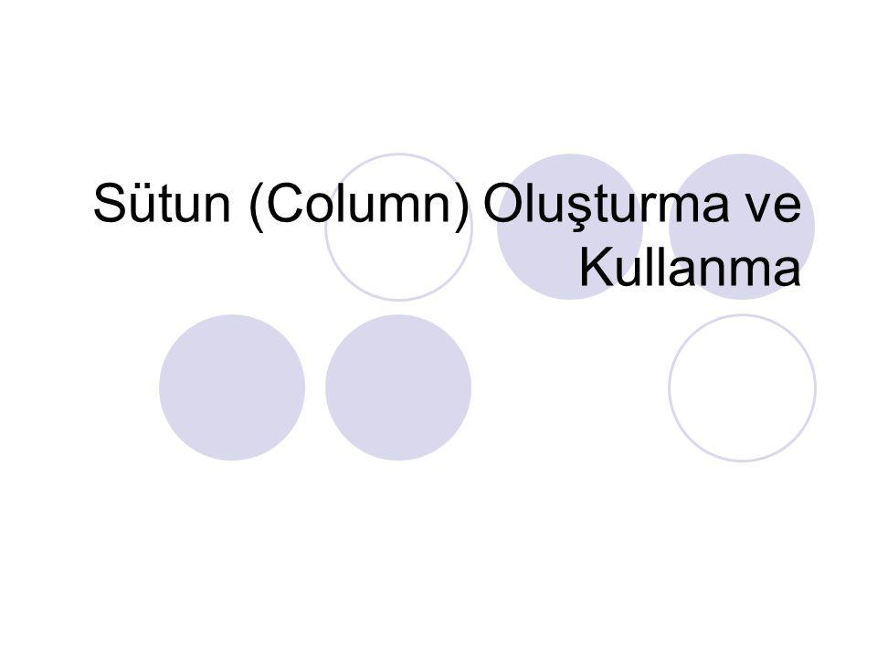 Sütun (Column) Oluşturma ve Kullanma