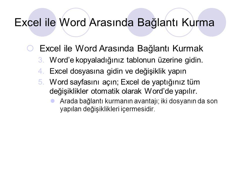  Excel ile Word Arasında Bağlantı Kurmak 3.Word'e kopyaladığınız tablonun üzerine gidin. 4.Excel dosyasına gidin ve değişiklik yapın 5.Word sayfasını