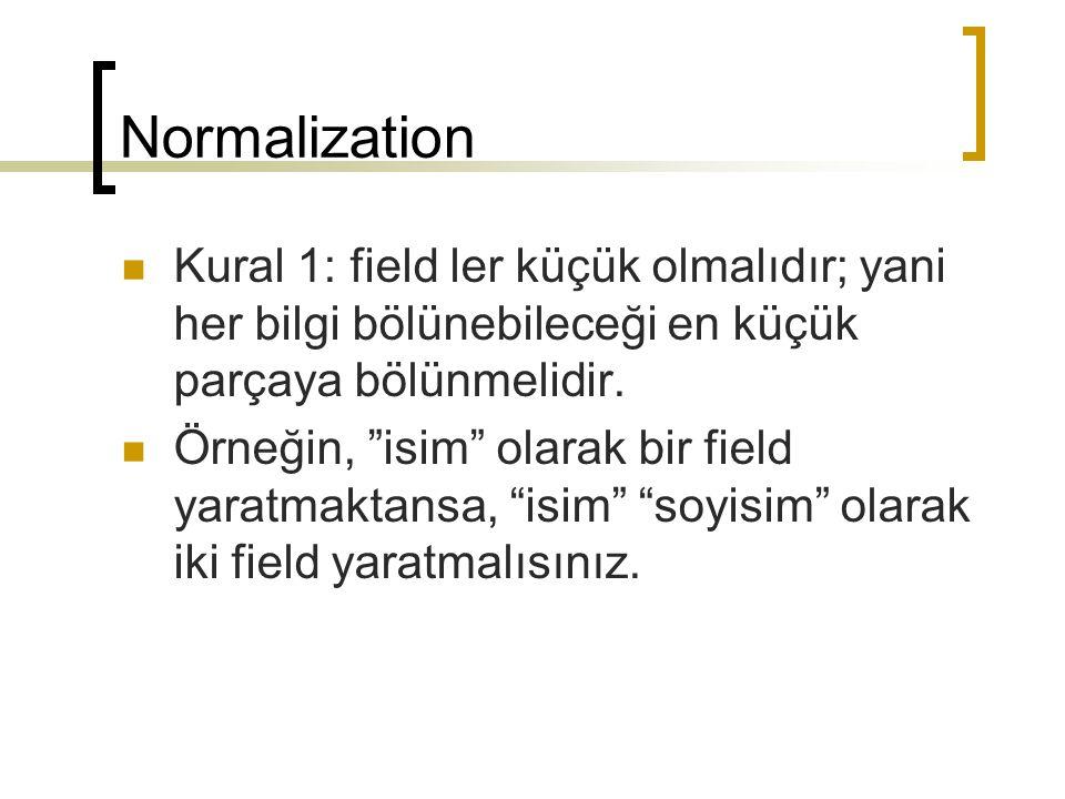 Normalization Kural 1: field ler küçük olmalıdır; yani her bilgi bölünebileceği en küçük parçaya bölünmelidir.
