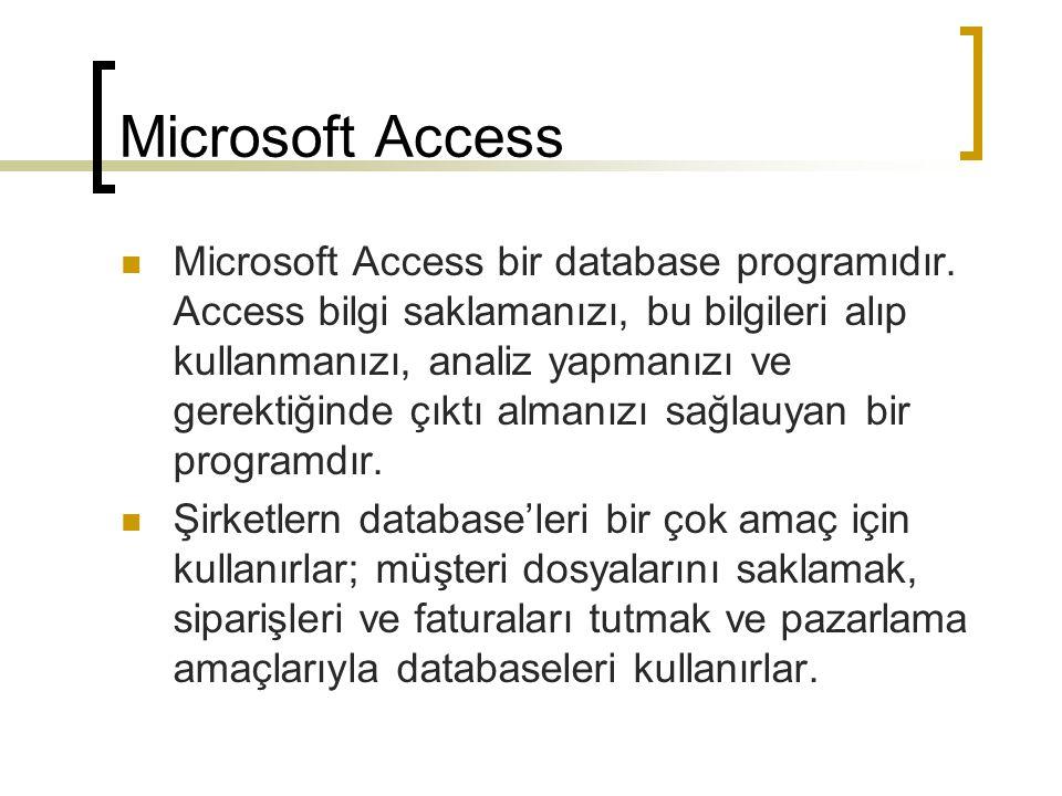Microsoft Access Databaseler binlerce, milyonlarca parçalanmış bilgiye etkili ve doğru şekilde ulaşmamızı sağlar.