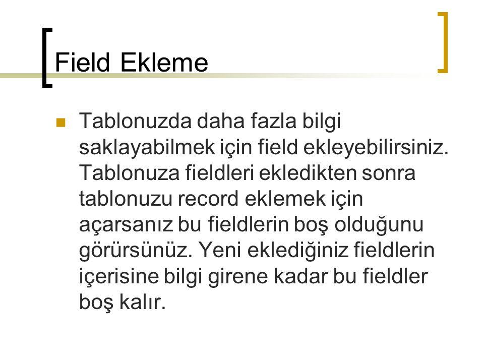 Field Ekleme Tablonuzda daha fazla bilgi saklayabilmek için field ekleyebilirsiniz.