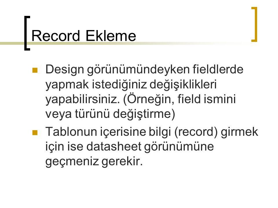 Record Ekleme Design görünümündeyken fieldlerde yapmak istediğiniz değişiklikleri yapabilirsiniz.