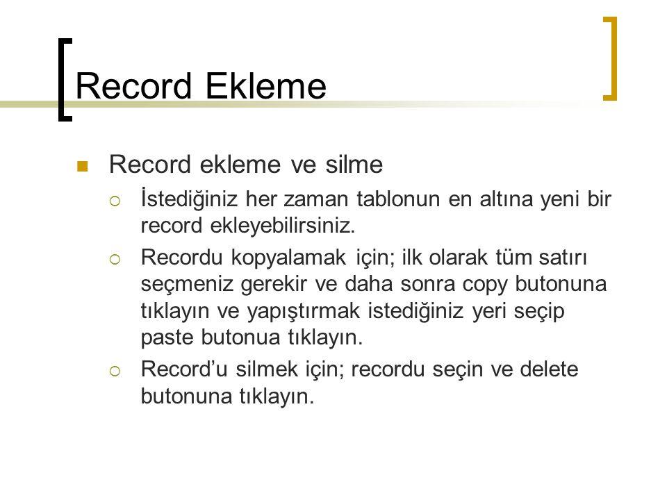 Record Ekleme Record ekleme ve silme  İstediğiniz her zaman tablonun en altına yeni bir record ekleyebilirsiniz.