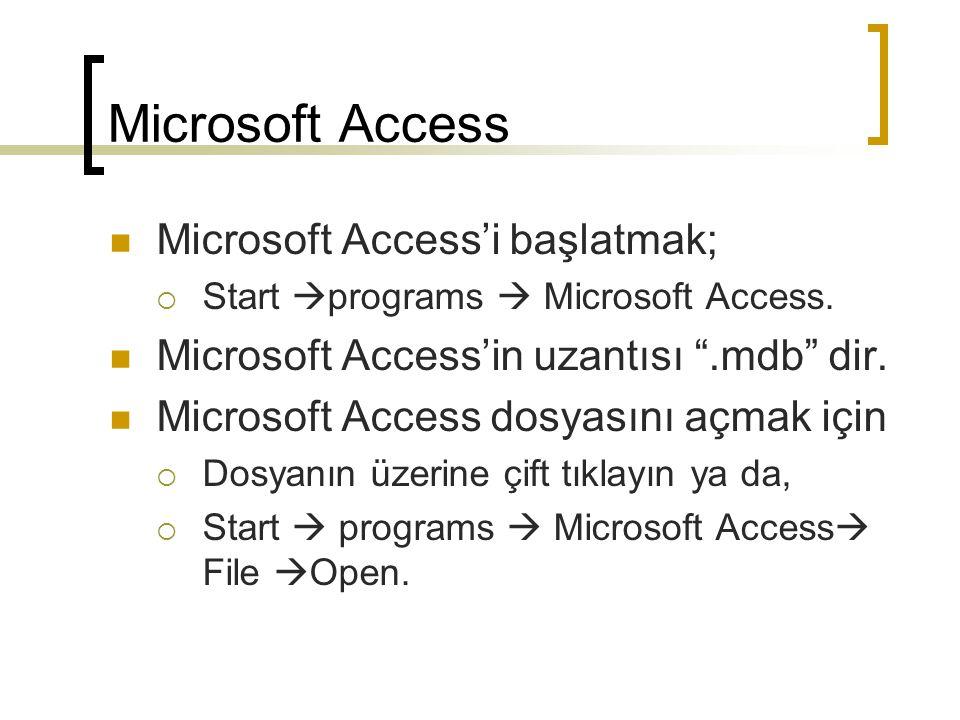 Microsoft Access İsmini değiştirmek için  Dosyanın üzerine sağ tıklayın  Rename ve yeni ismini yazın.