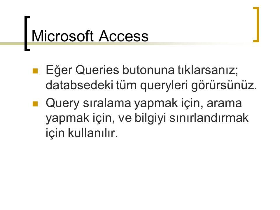 Microsoft Access Eğer Queries butonuna tıklarsanız; databsedeki tüm queryleri görürsünüz.