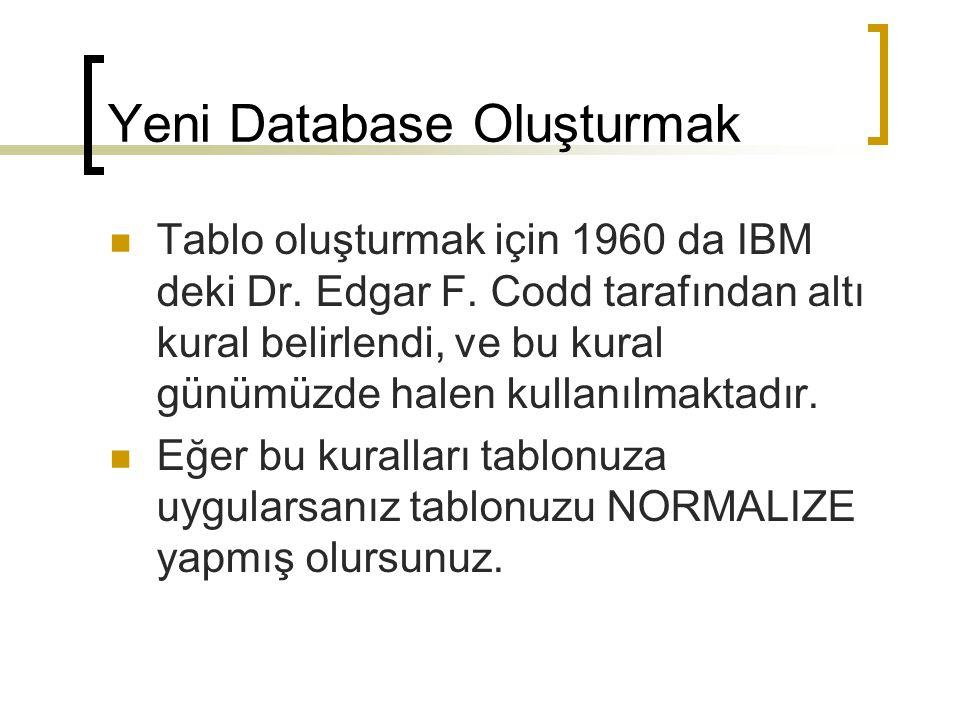 Tablo oluşturmak için 1960 da IBM deki Dr.Edgar F.