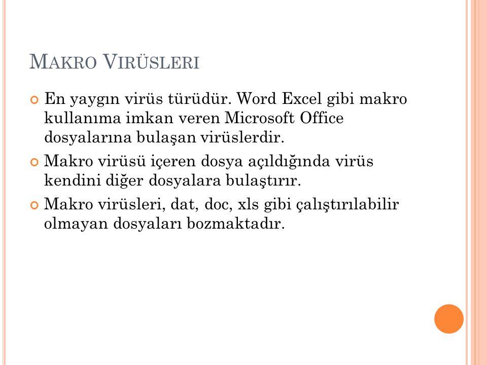 M AKRO V IRÜSLERI En yaygın virüs türüdür. Word Excel gibi makro kullanıma imkan veren Microsoft Office dosyalarına bulaşan virüslerdir. Makro virüsü