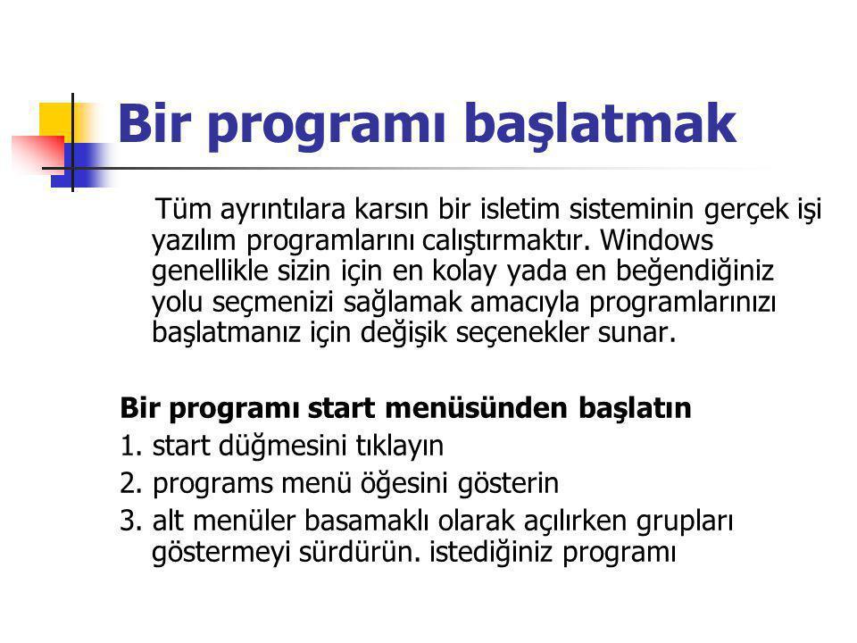 Bir programı başlatmak Tüm ayrıntılara karsın bir isletim sisteminin gerçek işi yazılım programlarını calıştırmaktır.