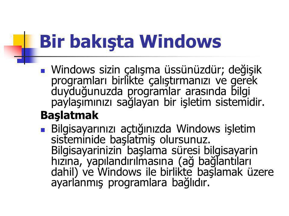 Bir bakışta Windows Windows sizin çalışma üssünüzdür; değişik programları birlikte çalıştırmanızı ve gerek duyduğunuzda programlar arasında bilgi paylaşımınızı sağlayan bir işletim sistemidir.