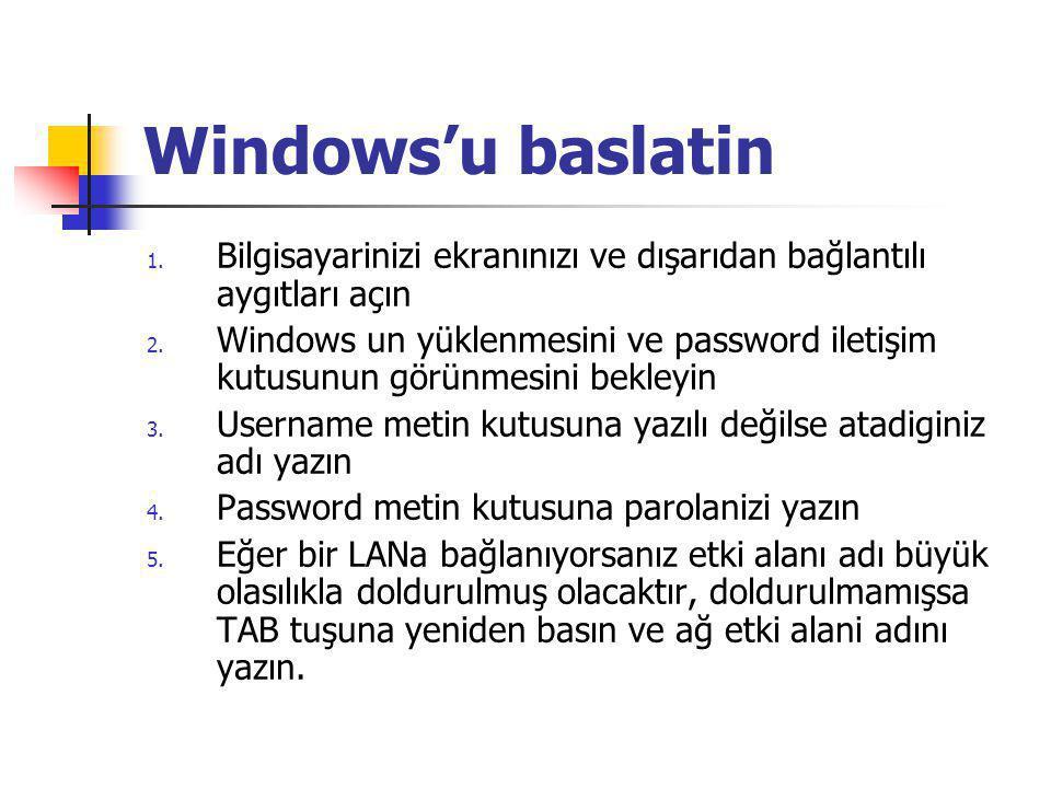 Windows'u baslatin 1. Bilgisayarinizi ekranınızı ve dışarıdan bağlantılı aygıtları açın 2.