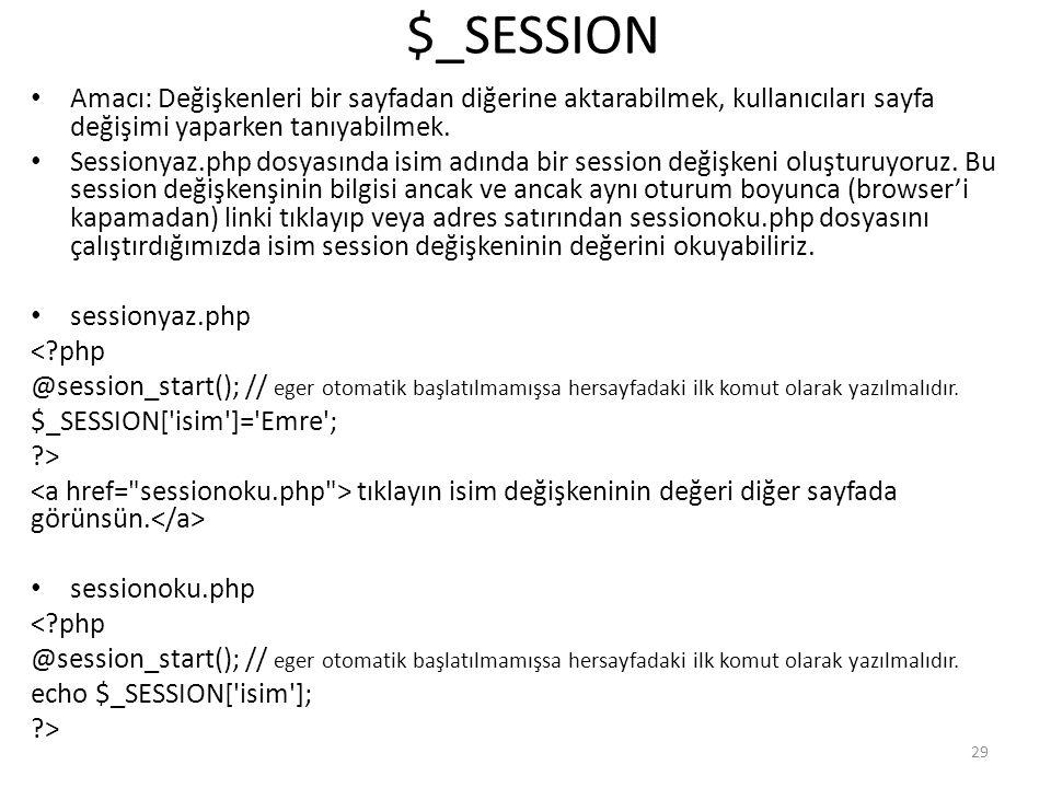 $_SESSION Amacı: Değişkenleri bir sayfadan diğerine aktarabilmek, kullanıcıları sayfa değişimi yaparken tanıyabilmek. Sessionyaz.php dosyasında isim a