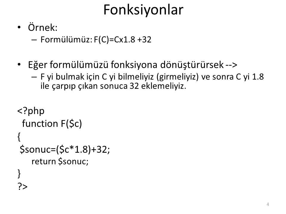Fonksiyonlar Örnek: – Formülümüz: F(C)=Cx1.8 +32 Eğer formülümüzü fonksiyona dönüştürürsek --> – F yi bulmak için C yi bilmeliyiz (girmeliyiz) ve sonr
