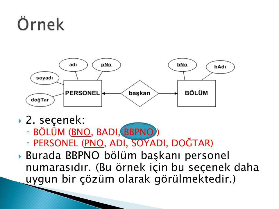  2. seçenek: ◦ BÖLÜM (BNO, BADI, BBPNO ) ◦ PERSONEL (PNO, ADI, SOYADI, DOĞTAR)  Burada BBPNO bölüm başkanı personel numarasıdır. (Bu örnek için bu s