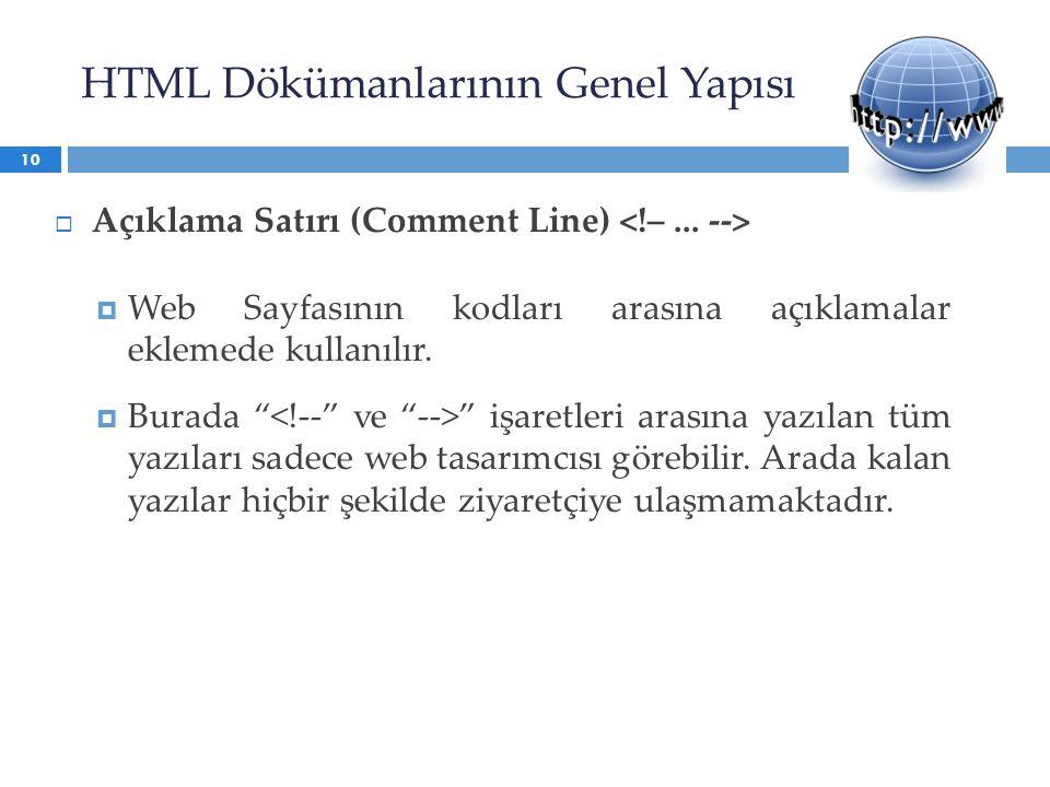 HTML Dökümanlarının Genel Yapısı  Açıklama Satırı (Comment Line)  Web Sayfasının kodları arasına açıklamalar eklemede kullanılır.