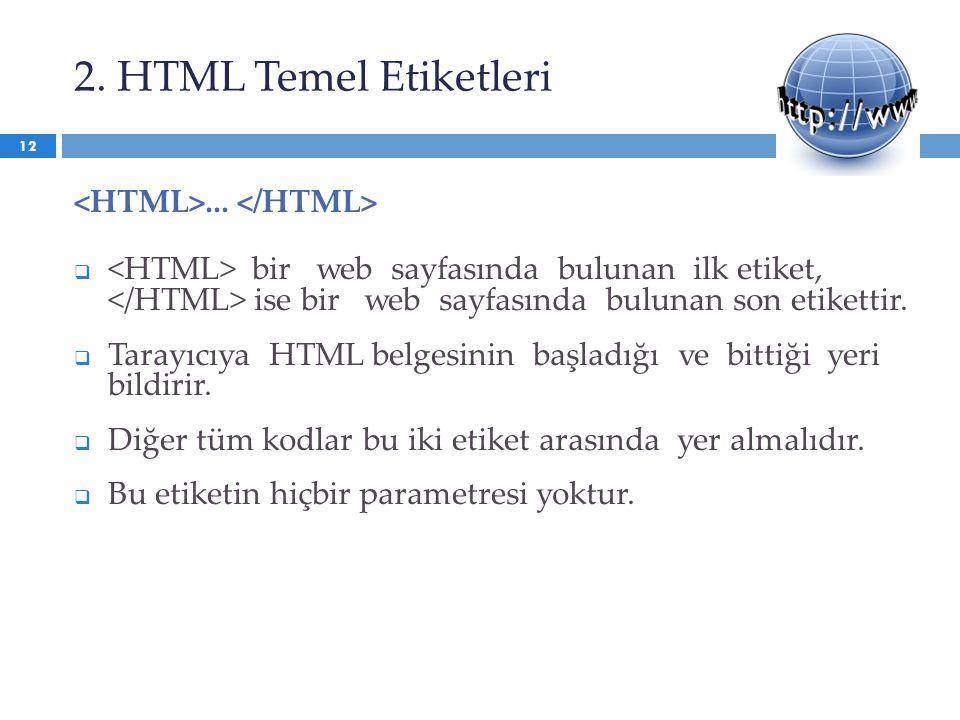 2. HTML Temel Etiketleri...  bir web sayfasında bulunan ilk etiket, ise bir web sayfasında bulunan son etikettir.  Tarayıcıya HTML belgesinin başlad