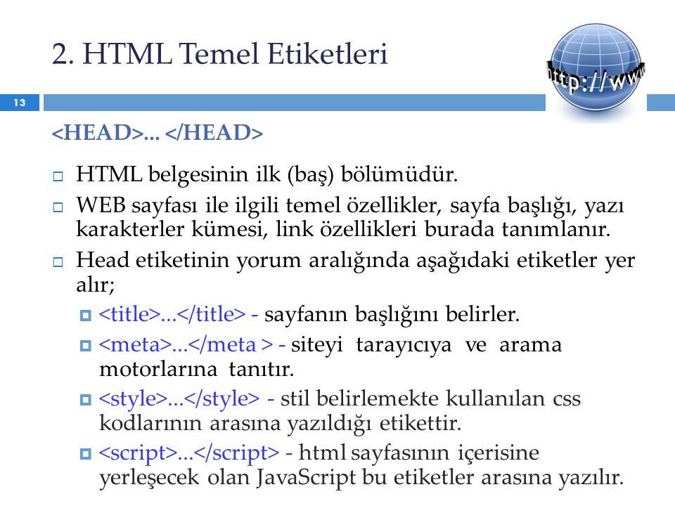 2. HTML Temel Etiketleri...  HTML belgesinin ilk (baş) bölümüdür.  WEB sayfası ile ilgili temel özellikler, sayfa başlığı, yazı karakterler kümesi,