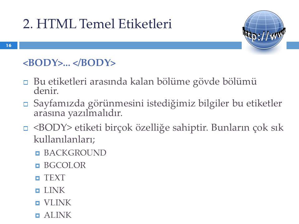2. HTML Temel Etiketleri...  Bu etiketleri arasında kalan bölüme gövde bölümü denir.  Sayfamızda görünmesini istediğimiz bilgiler bu etiketler arası