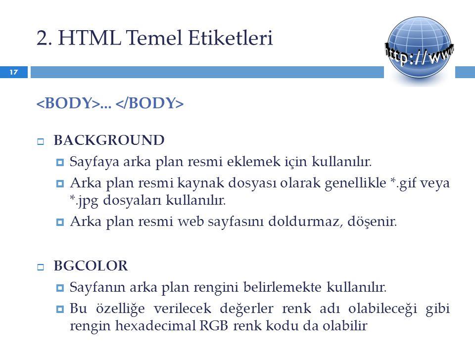 2. HTML Temel Etiketleri...  BACKGROUND  Sayfaya arka plan resmi eklemek için kullanılır.  Arka plan resmi kaynak dosyası olarak genellikle *.gif v