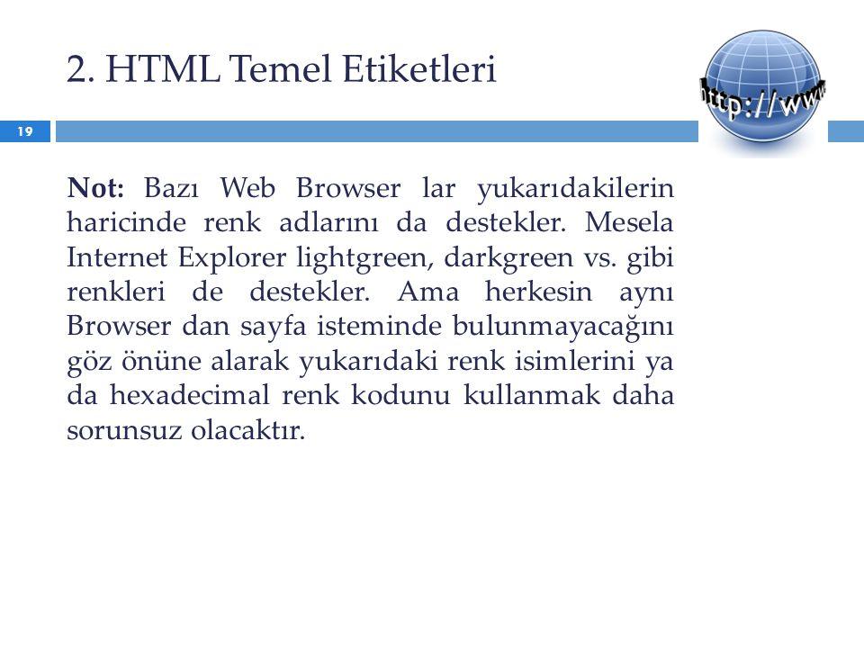 2. HTML Temel Etiketleri Not: Bazı Web Browser lar yukarıdakilerin haricinde renk adlarını da destekler. Mesela Internet Explorer lightgreen, darkgree