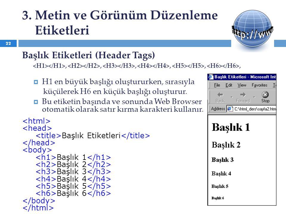 3. Metin ve Görünüm Düzenleme Etiketleri Başlık Etiketleri (Header Tags),,,,,,  H1 en büyük başlığı oluştururken, sırasıyla küçülerek H6 en küçük baş