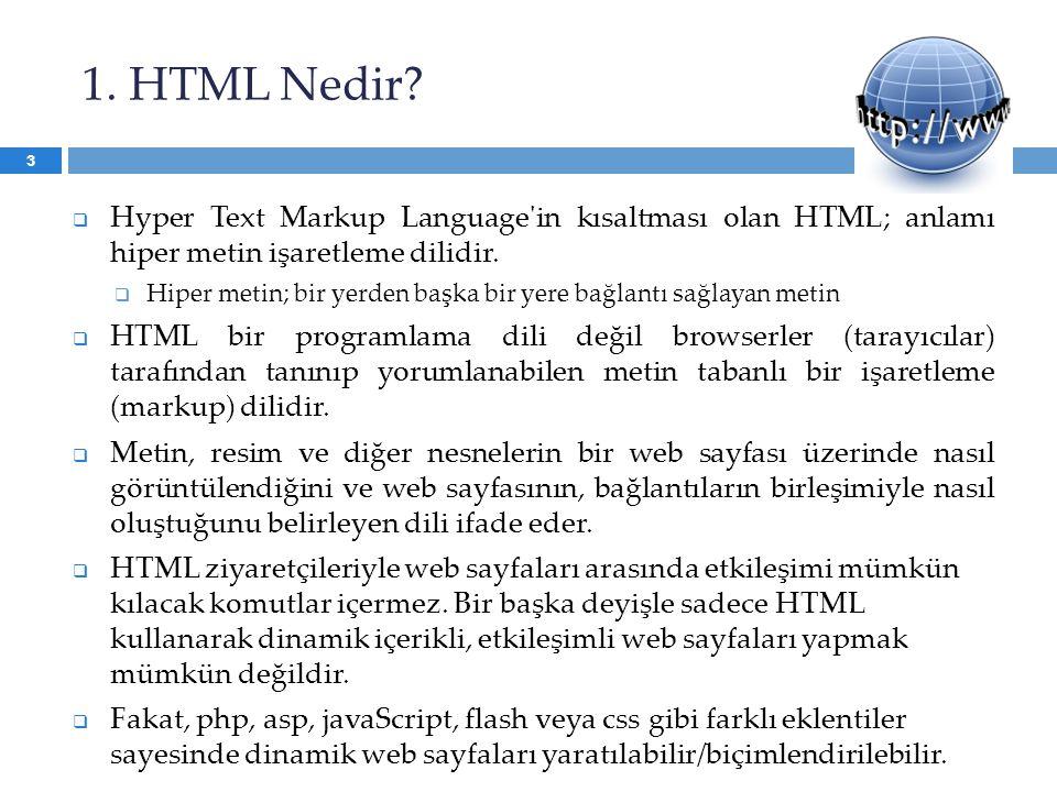 1. HTML Nedir?  Hyper Text Markup Language'in kısaltması olan HTML; anlamı hiper metin işaretleme dilidir.  Hiper metin; bir yerden başka bir yere b