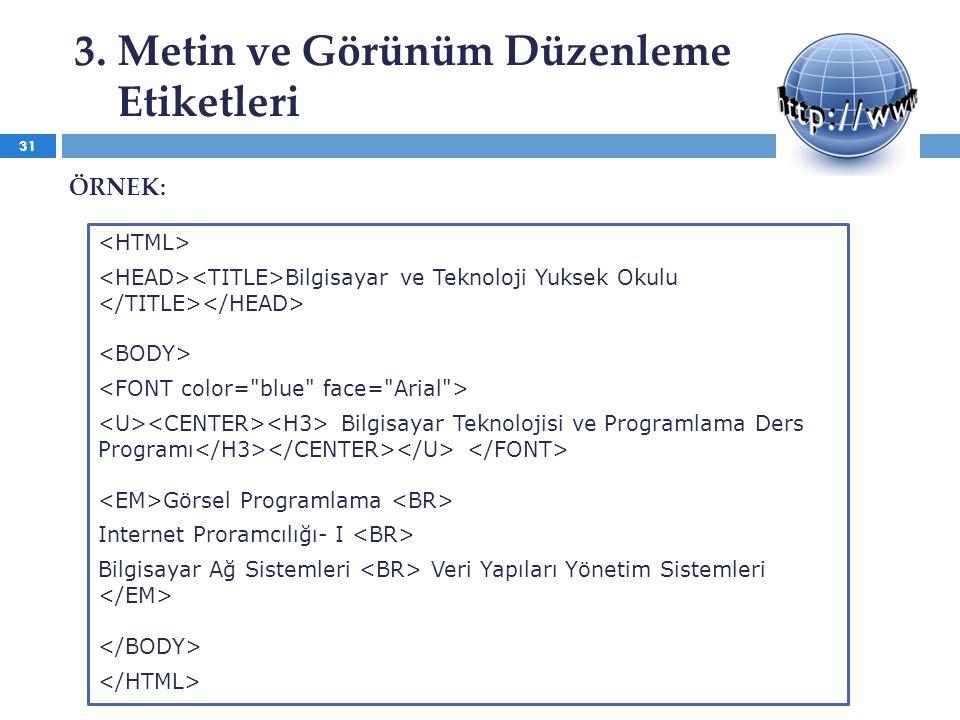 3. Metin ve Görünüm Düzenleme Etiketleri Bilgisayar ve Teknoloji Yuksek Okulu Bilgisayar Teknolojisi ve Programlama Ders Programı Görsel Programlama I