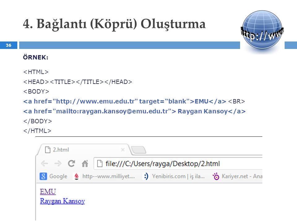 4. Bağlantı (Köprü) Oluşturma ÖRNEK: EMU Raygan Kansoy 36