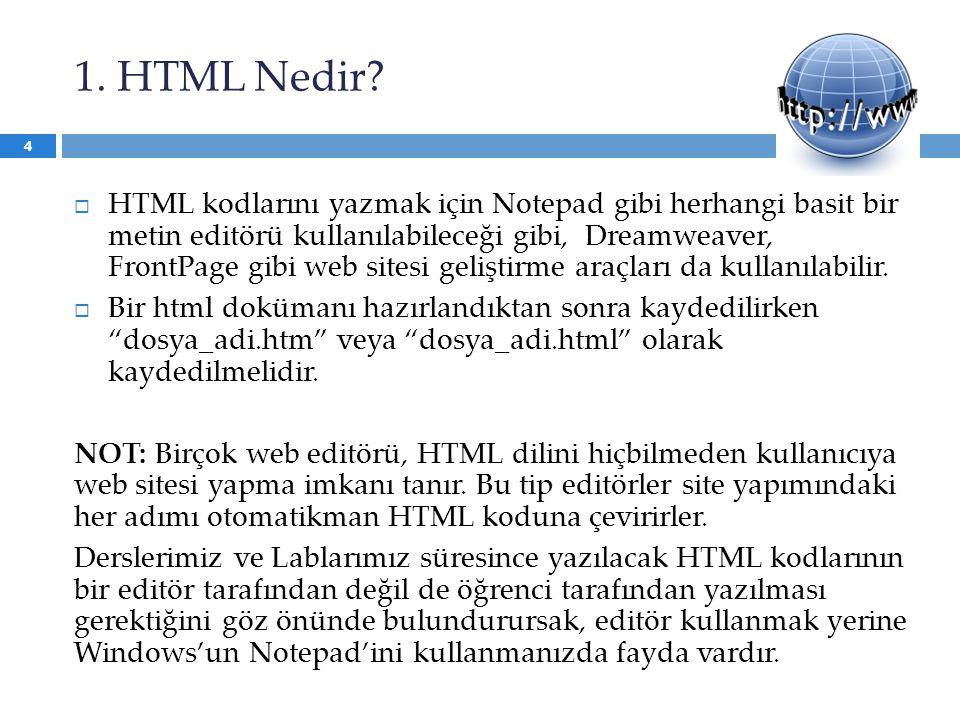 1. HTML Nedir?  HTML kodlarını yazmak için Notepad gibi herhangi basit bir metin editörü kullanılabileceği gibi, Dreamweaver, FrontPage gibi web site
