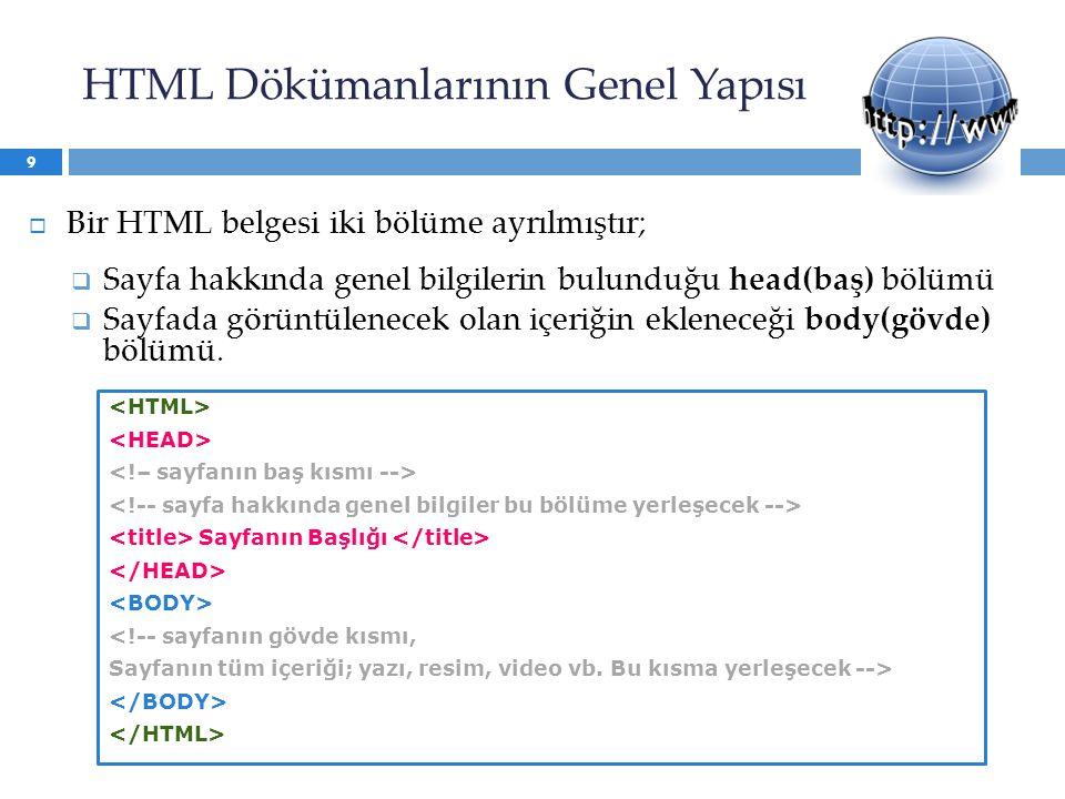 HTML Dökümanlarının Genel Yapısı  Bir HTML belgesi iki bölüme ayrılmıştır;  Sayfa hakkında genel bilgilerin bulunduğu head(baş) bölümü  Sayfada görüntülenecek olan içeriğin ekleneceği body(gövde) bölümü.