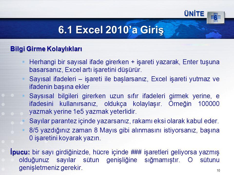 10 6.1 Excel 2010'a Giriş ÜNİTE 6 Bilgi Girme Kolaylıkları  Herhangi bir sayısal ifade girerken + işareti yazarak, Enter tuşuna basarsanız, Excel art