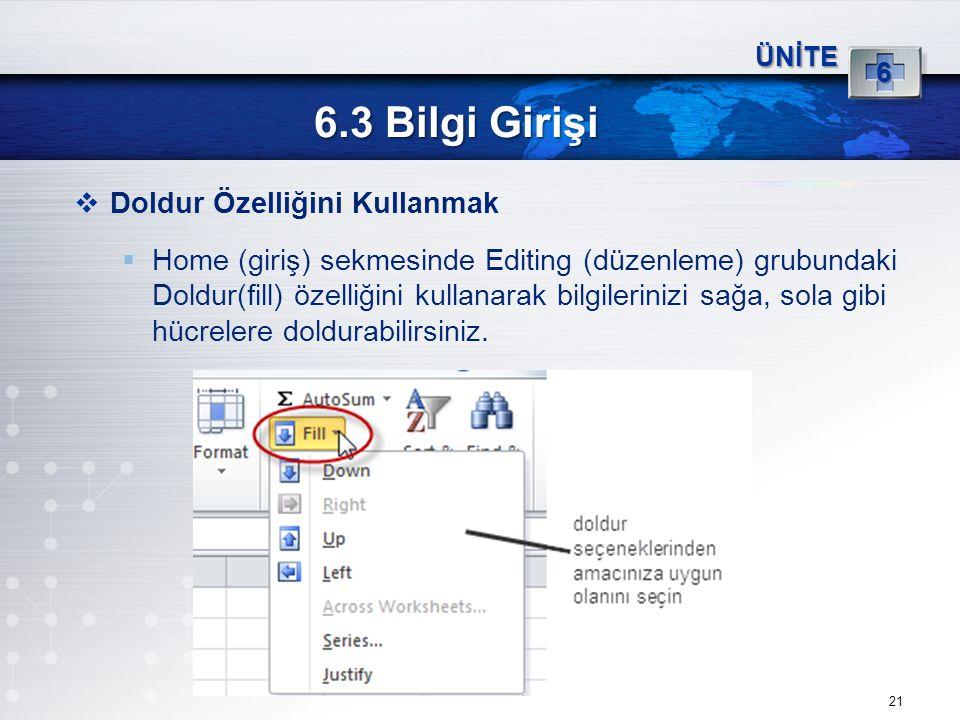 21 6.3 Bilgi Girişi ÜNİTE 6  Doldur Özelliğini Kullanmak  Home (giriş) sekmesinde Editing (düzenleme) grubundaki Doldur(fill) özelliğini kullanarak