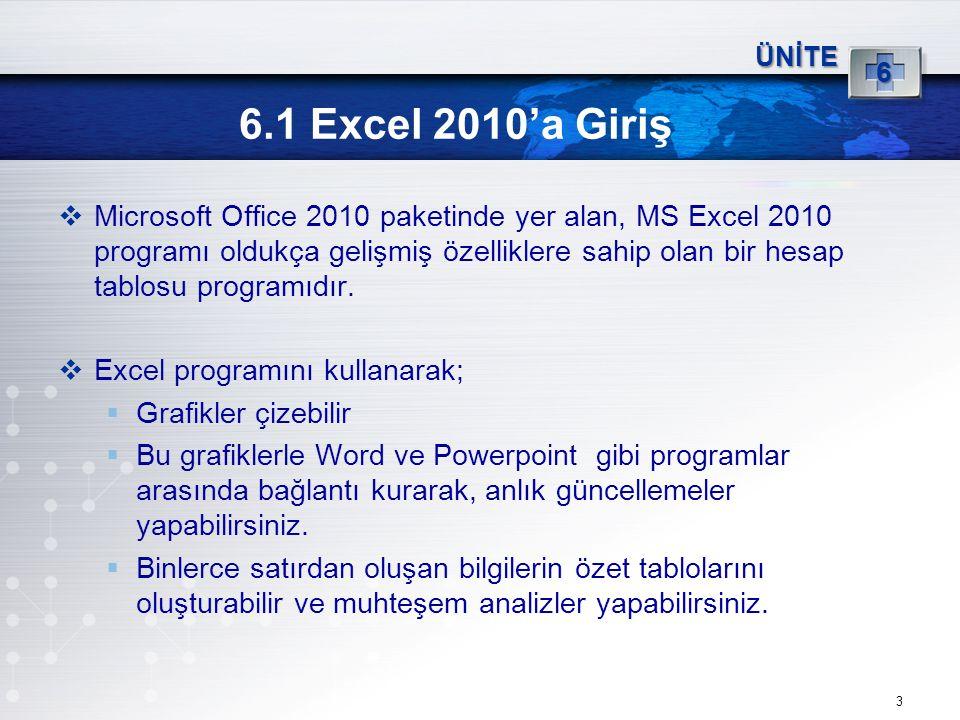 6.1 Excel 2010'a Giriş  Microsoft Office 2010 paketinde yer alan, MS Excel 2010 programı oldukça gelişmiş özelliklere sahip olan bir hesap tablosu pr