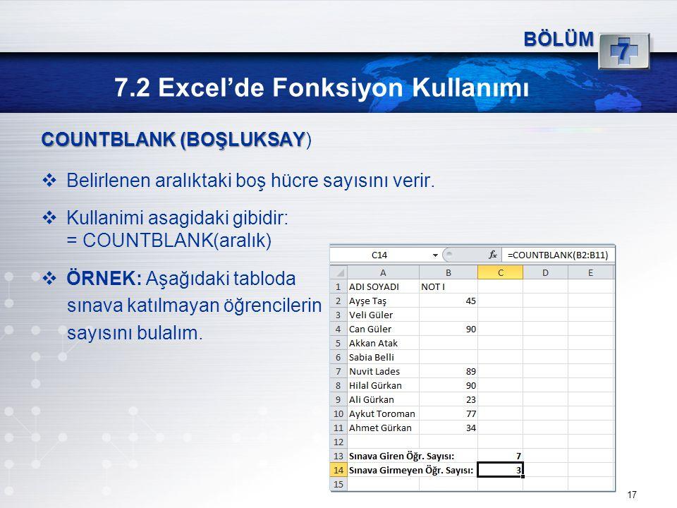 7.2 Excel'de Fonksiyon Kullanımı 17 BÖLÜM 7 COUNTBLANK (BOŞLUKSAY COUNTBLANK (BOŞLUKSAY)  Belirlenen aralıktaki boş hücre sayısını verir.