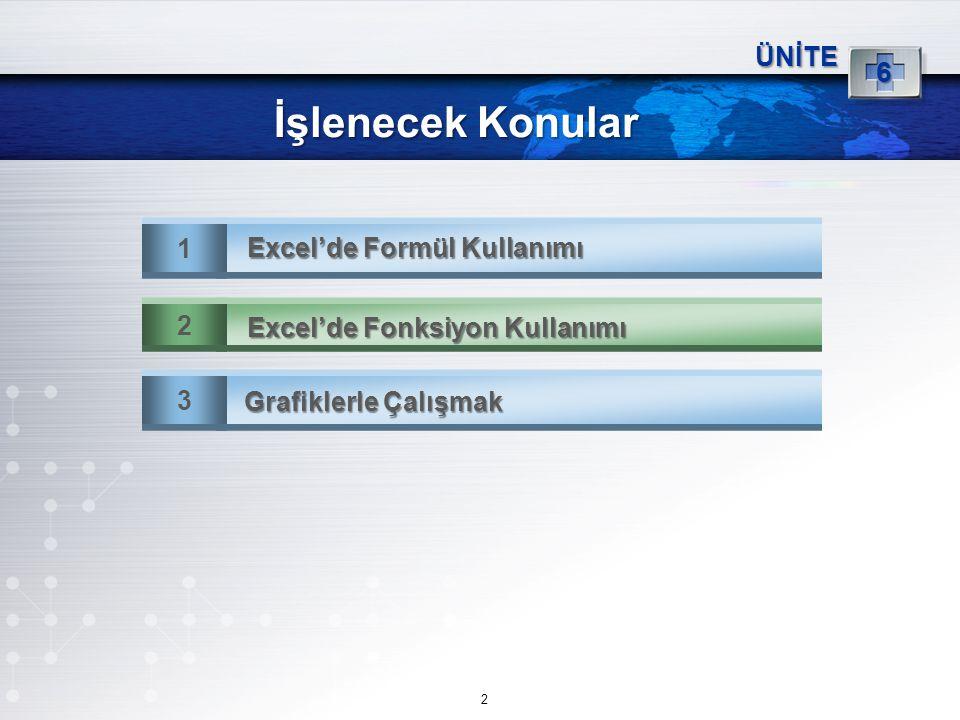 İşlenecek Konular 1 Excel'de Formül Kullanımı ÜNİTE 6 3 Grafiklerle Çalışmak 2 Excel'de Fonksiyon Kullanımı 2