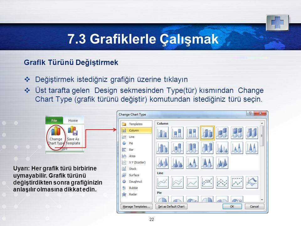 Grafik Türünü Değiştirmek  Değiştirmek istediğniz grafiğin üzerine tıklayın  Üst tarafta gelen Design sekmesinden Type(tür) kısmından Change Chart Type (grafik türünü değiştir) komutundan istediğiniz türü seçin.