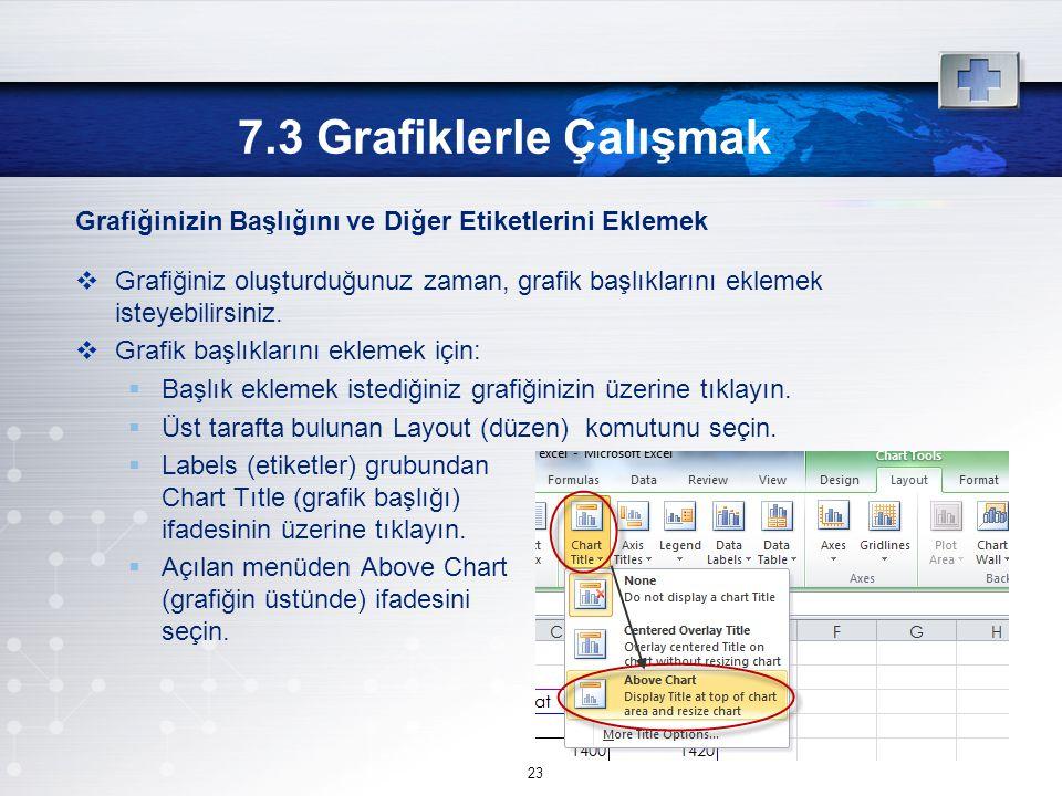 Grafiğinizin Başlığını ve Diğer Etiketlerini Eklemek  Grafiğiniz oluşturduğunuz zaman, grafik başlıklarını eklemek isteyebilirsiniz.