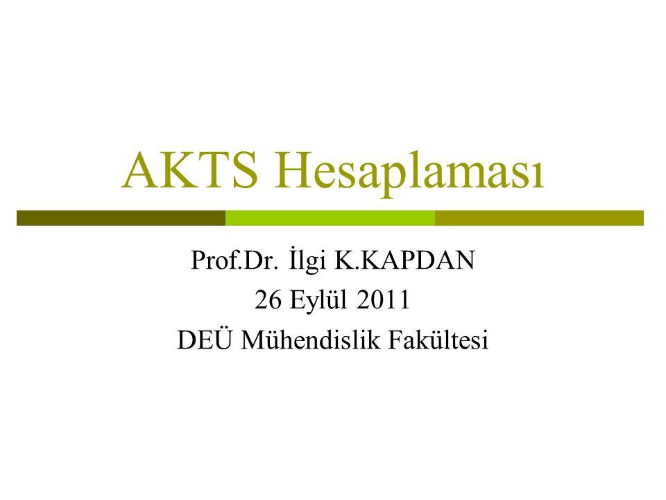 AKTS Hesaplaması Prof.Dr. İlgi K.KAPDAN 26 Eylül 2011 DEÜ Mühendislik Fakültesi