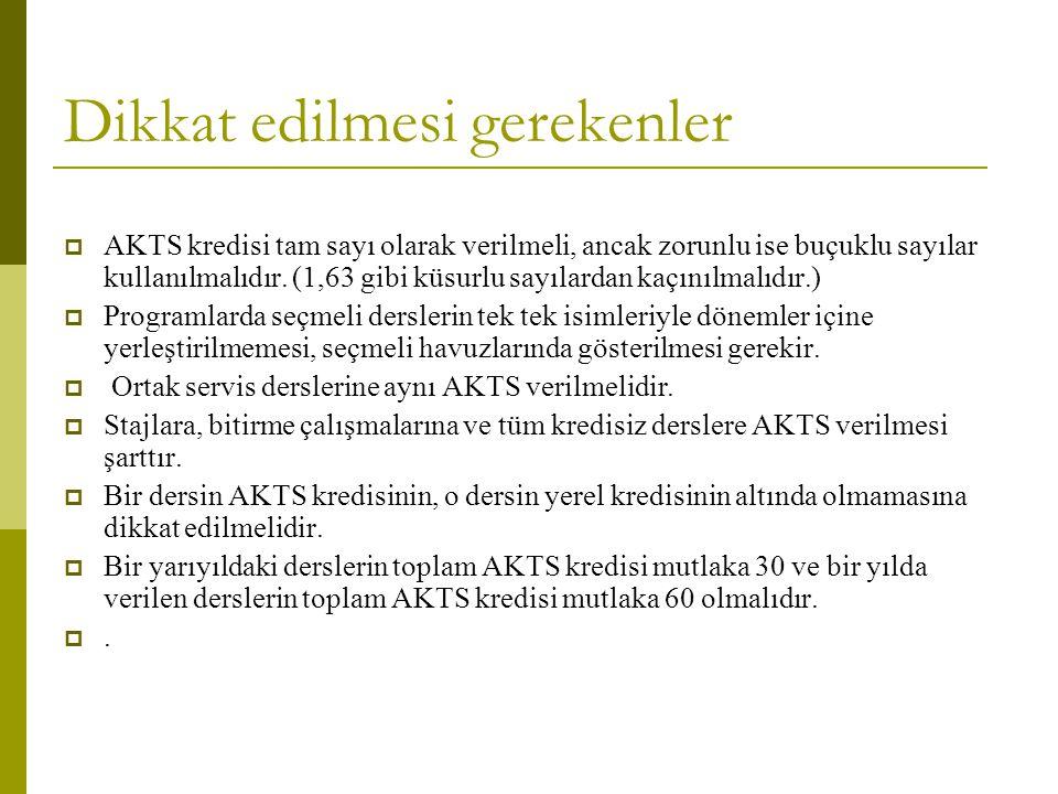 Dikkat edilmesi gerekenler  AKTS kredisi tam sayı olarak verilmeli, ancak zorunlu ise buçuklu sayılar kullanılmalıdır. (1,63 gibi küsurlu sayılardan