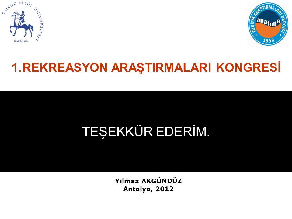 1.REKREASYON ARAŞTIRMALARI KONGRESİ TEŞEKKÜR EDERİM. Yılmaz AKGÜNDÜZ Antalya, 2012