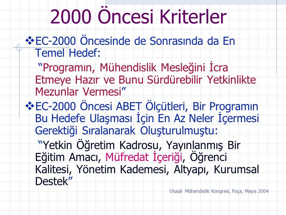 """2000 Öncesi Kriterler  EC-2000 Öncesinde de Sonrasında da En Temel Hedef: """"Programın, Mühendislik Mesleğini İcra Etmeye Hazır ve Bunu Sürdürebilir Ye"""
