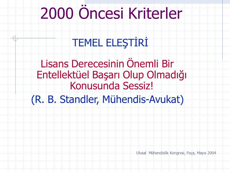 2000 Öncesi Kriterler TEMEL ELEŞTİRİ Ulusal Mühendislik Kongresi, Foça, Mayıs 2004 Lisans Derecesinin Önemli Bir Entellektüel Başarı Olup Olmadığı Kon