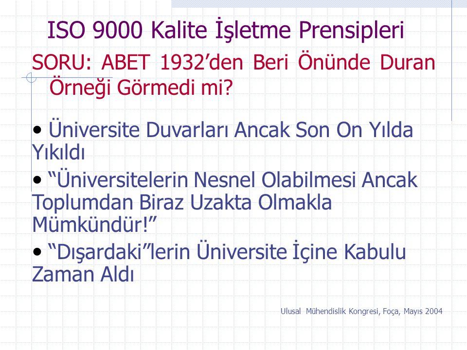 ISO 9000 Kalite İşletme Prensipleri SORU: ABET 1932'den Beri Önünde Duran Örneği Görmedi mi? Ulusal Mühendislik Kongresi, Foça, Mayıs 2004 Üniversite