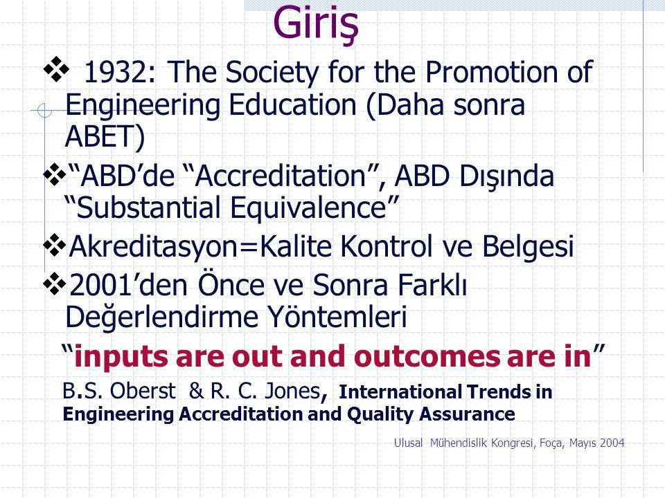 """Giriş  1932: The Society for the Promotion of Engineering Education (Daha sonra ABET)  """"ABD'de """"Accreditation"""", ABD Dışında """"Substantial Equivalence"""