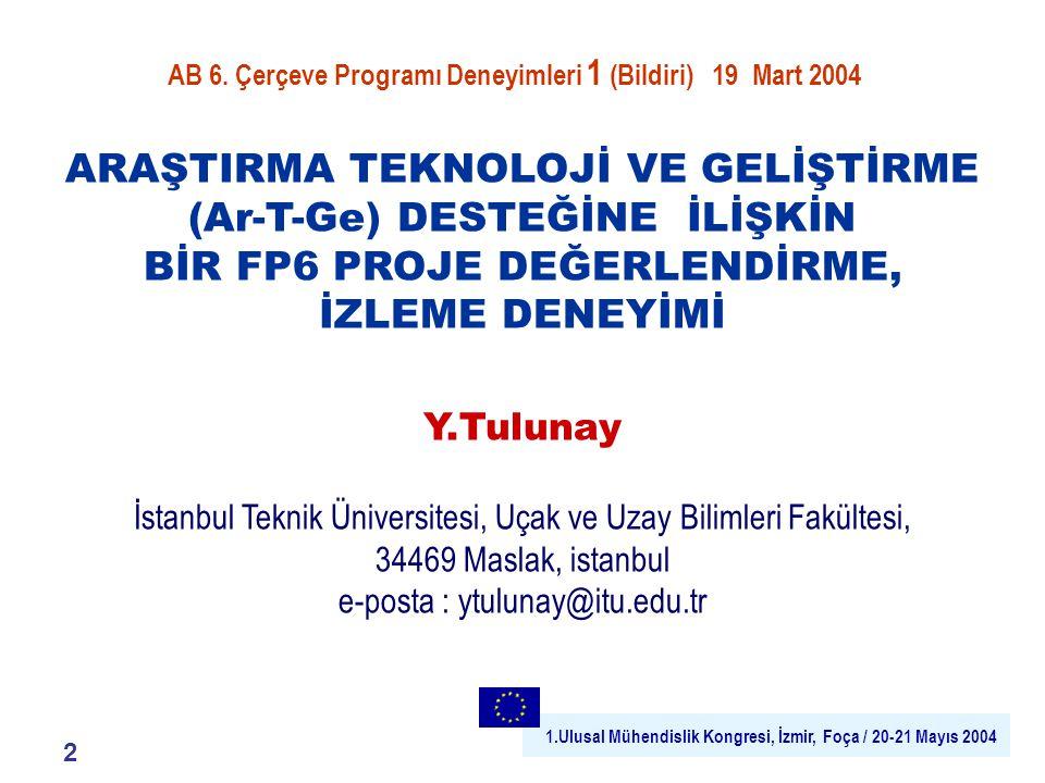 1.Ulusal Mühendislik Kongresi, İzmir, Foça / 20-21 Mayıs 2004 21 FP6 EVENT Türk Katılımcılar için Perspektifler : Havacılık ve Uzay 2003 Türkiye'de İlk Olay