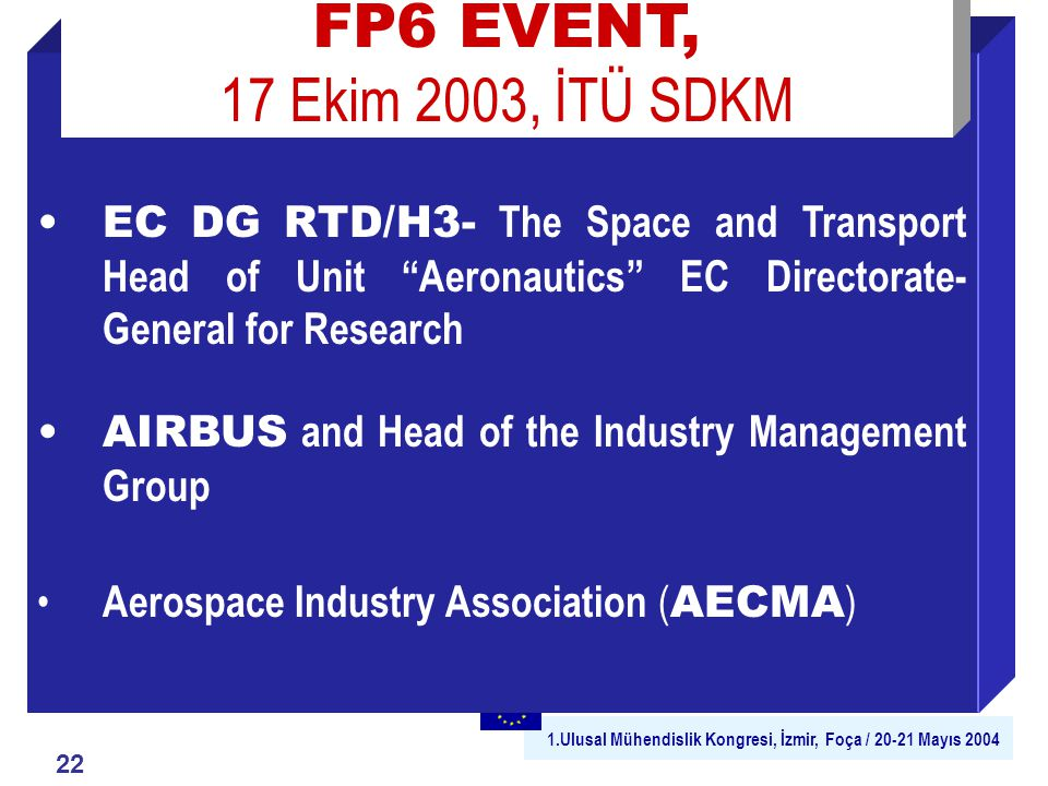 1.Ulusal Mühendislik Kongresi, İzmir, Foça / 20-21 Mayıs 2004 EC DG RTD/H3- The Space and Transport Head of Unit Aeronautics EC Directorate- General for Research AIRBUS and Head of the Industry Management Group Aerospace Industry Association ( AECMA ) FP6 EVENT, 17 Ekim 2003, İTÜ SDKM 22