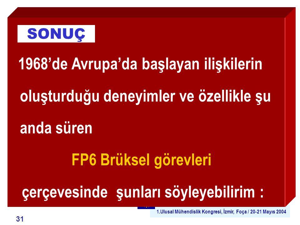 1.Ulusal Mühendislik Kongresi, İzmir, Foça / 20-21 Mayıs 2004 31 1968'de Avrupa'da başlayan ilişkilerin oluşturduğu deneyimler ve özellikle şu anda süren FP6 Brüksel görevleri çerçevesinde şunları söyleyebilirim : SONUÇ