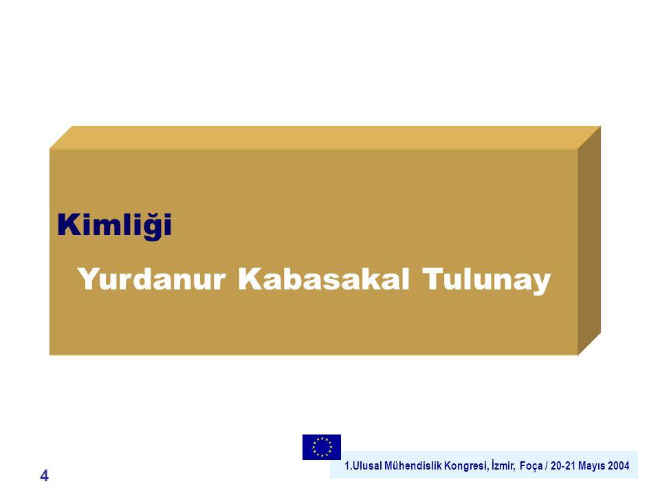1.Ulusal Mühendislik Kongresi, İzmir, Foça / 20-21 Mayıs 2004 Kimliği Yurdanur Kabasakal Tulunay 4