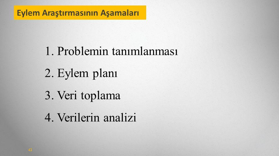 Eylem Araştırmasının Aşamaları 42 1.Problemin tanımlanması 2.